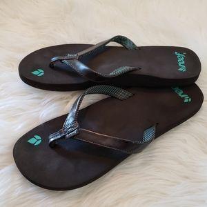 Reef Leather Trim Flip-flops